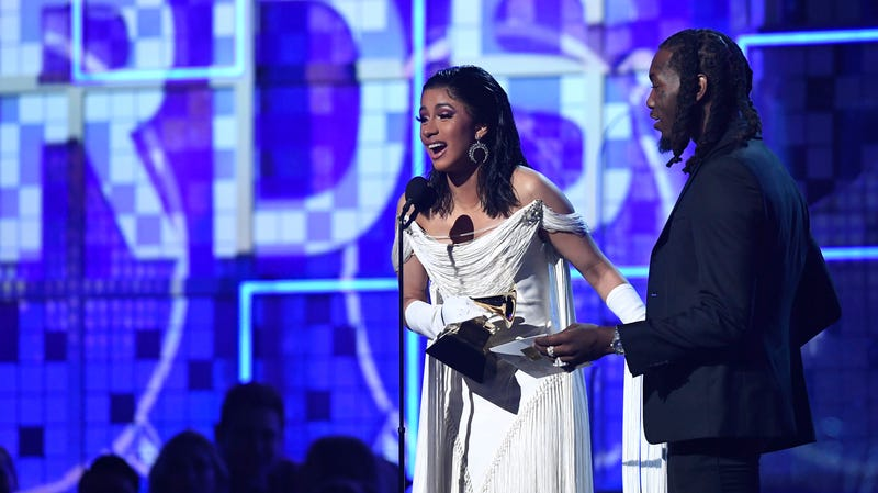 Cardi B, with husband Offset, accepts Best Rap Album for 'Invasion of Privacy' during the 61st Annual Grammy Awards on Feb. 10, 2019, in Los Angeles.