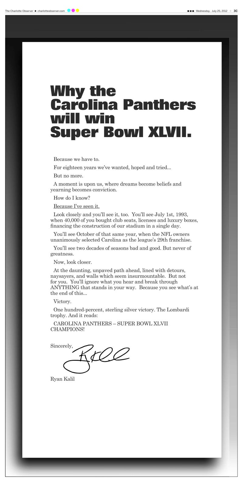 Illustration for article titled Ryan Kalil Takes Out Full-Page Newspaper Ad Guaranteeing A Panthers Super Bowl Victory