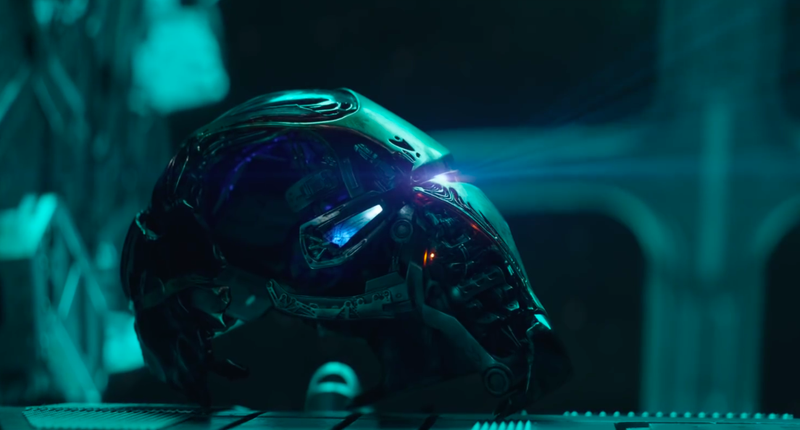 Iron Man's helmet recording a message from the hero.