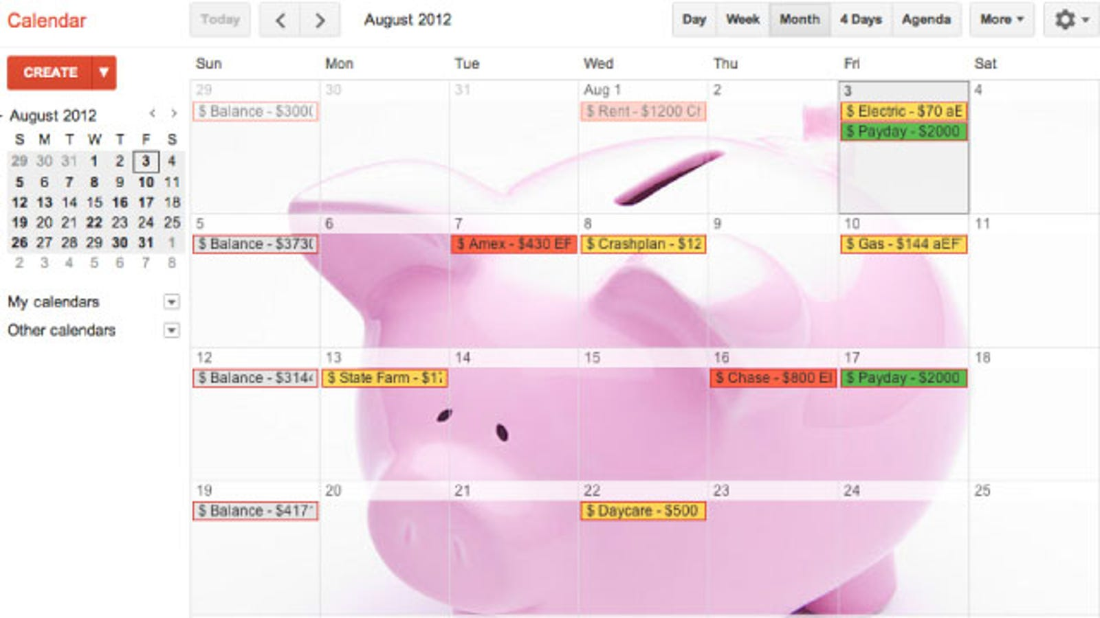 Manage Your Money with Google Calendar
