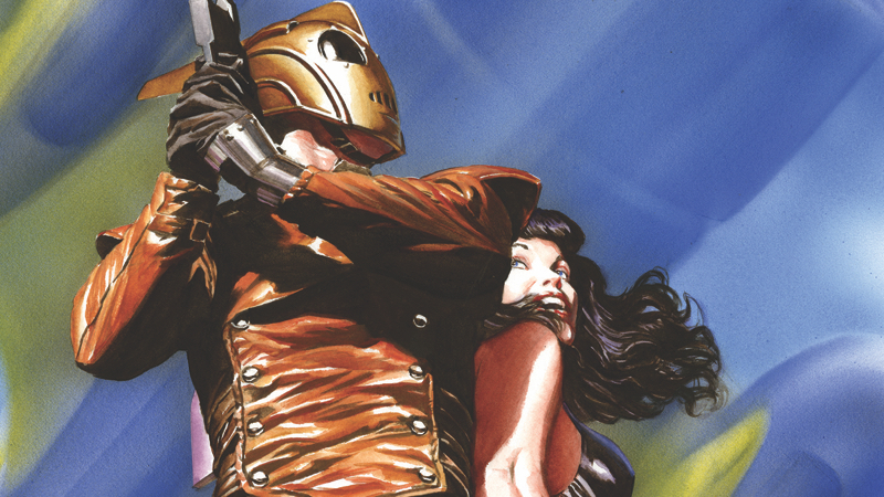 Dan Steven's classic hero along with Betty Page, as depicted on the cover of The Rocketeer: High Flying Adventures anthology.