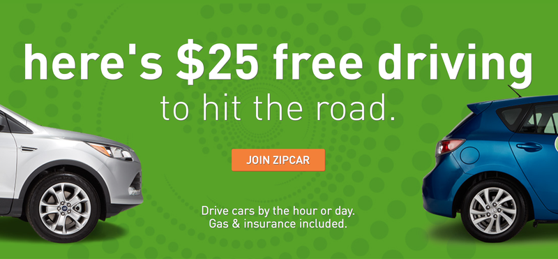 Free $25 driving credit for new Zipcar users