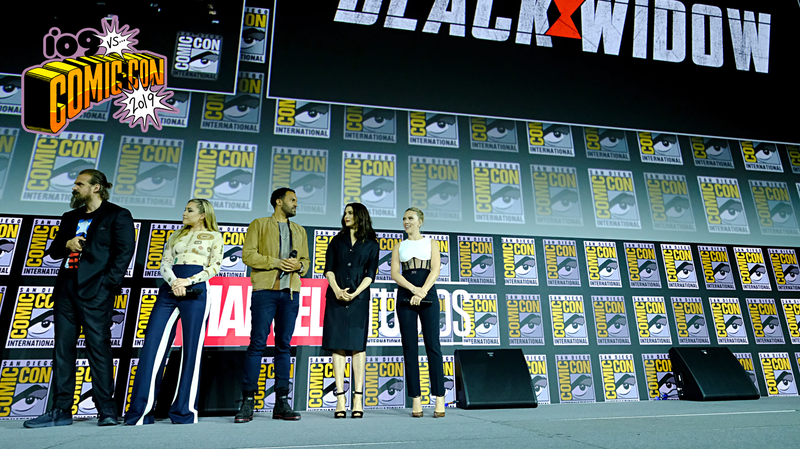 The cast of Black Widow in Hall H.