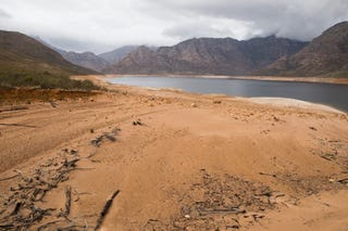 Berg River dam during a severe drought in South Africa'sWestern Cape. Photo: Ashraf Hendricks/GroundUp