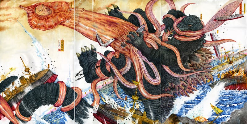 Illustration for article titled Insanely detailed paintings of kaiju fighting in historical battles will fill you with awe