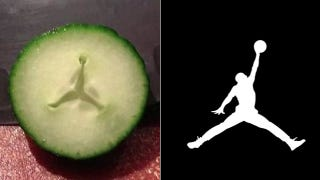 Illustration for article titled A Thanksgiving Miracle: Air Jordan Logo Appears Inside Cucumber