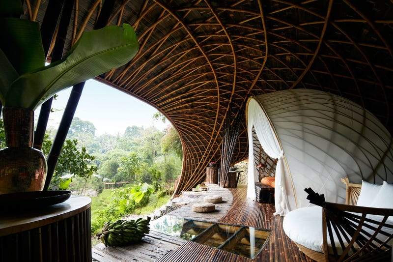 Illustration for article titled Built almost entirely of bamboo, this is one of the world's most sustainable and spiritual hotels