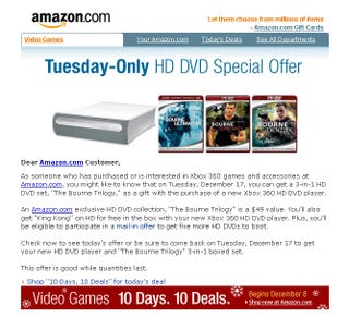 Illustration for article titled Dealzmodo: Xbox 360 HD DVD Player Comes With Free Bourne Trilogy