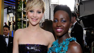Actresses Jennifer Lawrence and Lupita Nyong'o attend the 20th Annual Screen Actors Guild Awards at the Shrine Auditorium in Los Angeles, Jan. 18, 2014.Kevork Djansezian/Getty Images