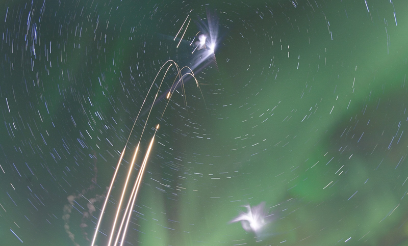 Illustration for article titled Four Rockets Fired Into An Aurora