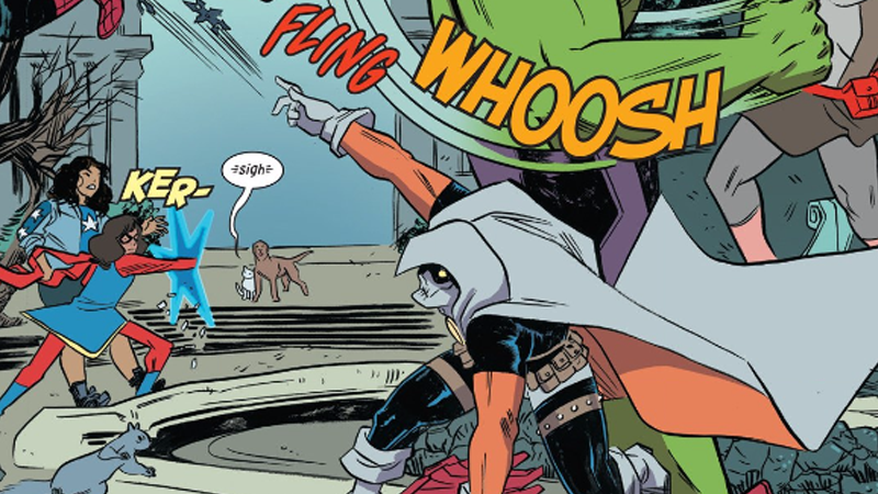 A few onomatopoeia from the delightful Unbeatable Squirrel Girl #15. Art and words by Ryan North, Erica Henderson, Rico Renzi, and Travis Lanham.