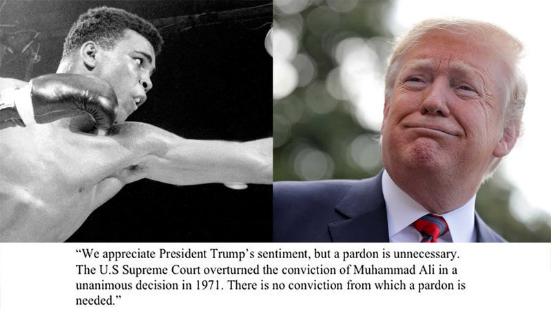 "Illustration for article titled Trump Thinking ""Very Seriously"" About Pardoning Muhammad Ali, Who Has No Criminal Record"
