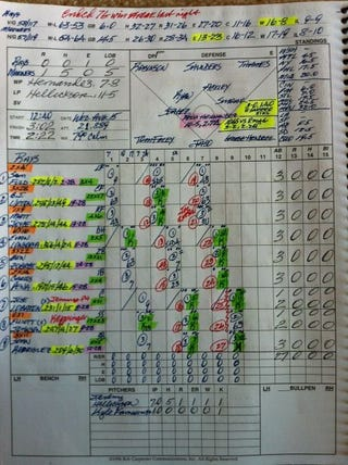 Illustration for article titled Here's What The Scorecard From Felix Hernandez's Perfect Game Looks Like