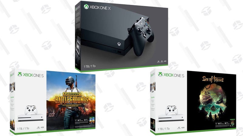 Xbox One X 1TB Console | $449 | WalmartXbox One S 500GB Console - White | $199 | WalmartXbox One S 1TB Sea of Thieves Bundle | $249 | WalmartXbox One S 1TB Rocket League Bundle | $249 | WalmartXbox One S 1TB PlayerUnknown's Battlegrounds Bundle | $249 | Walmart