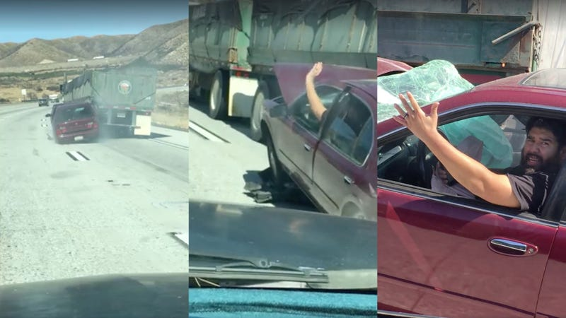 Auto  wedged on truck is dragged down California freeway
