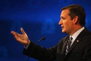 Texas Sen. Ted Cruz at the third Republican presidential debate at the University of Colorado's Coors Events Center on Oct. 28, 2015, in BoulderJustin Sullivan/Getty Images