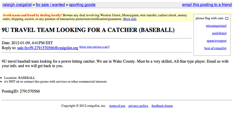 Illustration for article titled Does Anybody Know A Nine-Year-Old Power-Hitting Catcher In Raleigh?