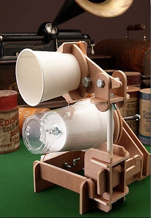 Illustration for article titled Plastic Cup Gramophone Kit: Edison's Invention Reproduced