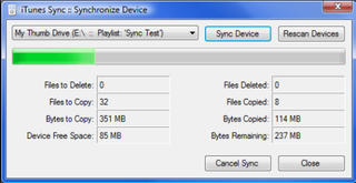 Illustration for article titled iTunes Sync transfers your iTunes library to other MP3 players