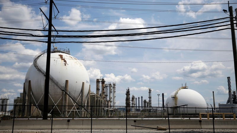 The Marcus Hook Refinery in Marcus Hook, Pennsylvania, where all the project's natural gas would end up. Photo: AP