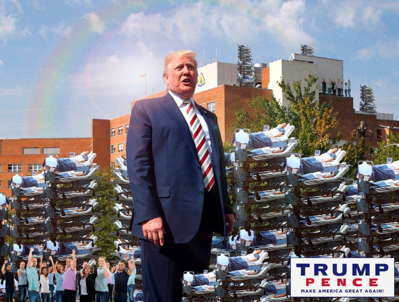 Illustration for article titled Trump Campaign Denies Doctoring Photos Showing Him Speaking To 1.8 Million Shooting Victims At Dayton Hospital