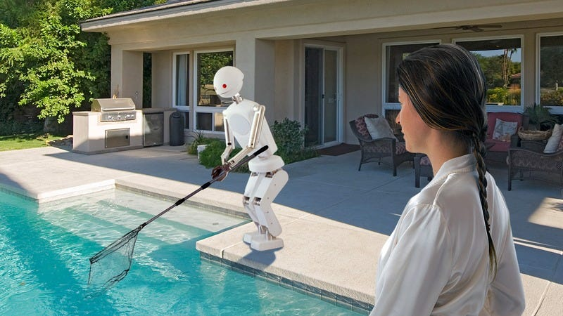 A sexy robot cleaning a pool.