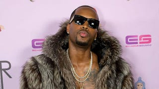 Safaree, in a fur while arriving to a party for Blac Chyna in Hollywood, May 2016