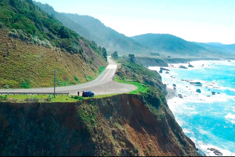 This March 28, 2018, aerial image from Alameda County Sheriff's Office drone video, courtesy of Mendocino County, shows the pullout where the SUV of Jennifer and Sarah Hart was recovered off Pacific Coast Highway 1 near Westport, Calif.