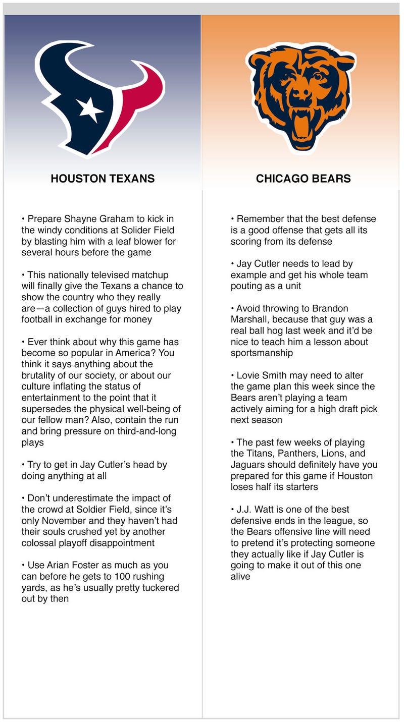 Illustration for article titled Texans vs. Bears