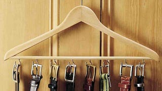 Illustration for article titled Create a Closet-Friendly Belt Rack Out of a Wooden Hanger