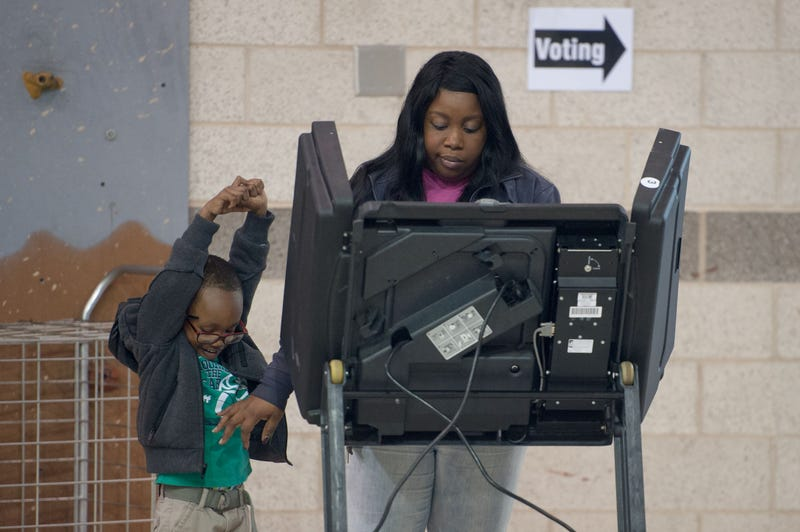 A woman votes during Missouri primary voting at the January-Wabash Elementary School on March 15, 2016, in Ferguson, Mo. MICHAEL B. THOMAS/AFP/Getty Images