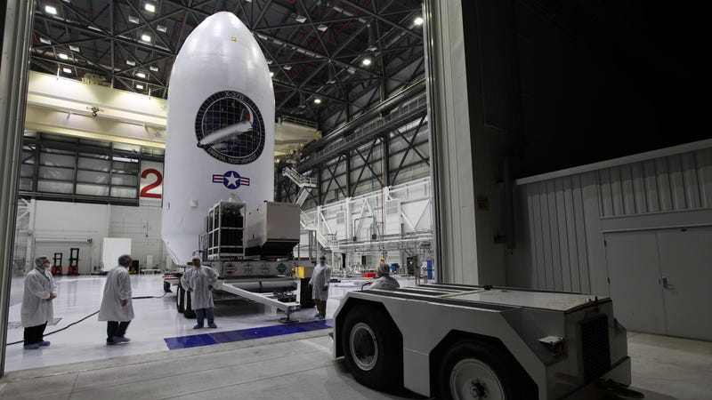 The X-37B Orbital Test Vehicle (OTV-5) is being staged at Kennedy Space Center in preparation for its upcoming launch on September 7, 2017 in this September 5th handout photo (Boeing)