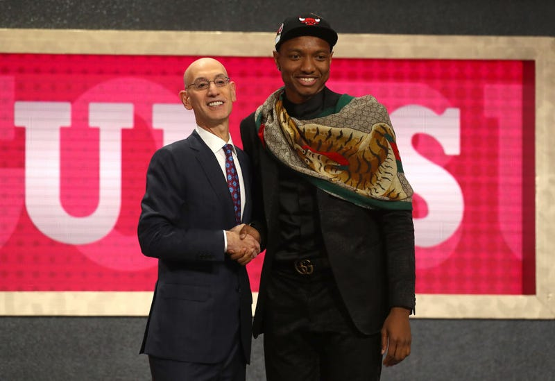 NBA Commissioner Adam Silver and Wendell Carter Jr.