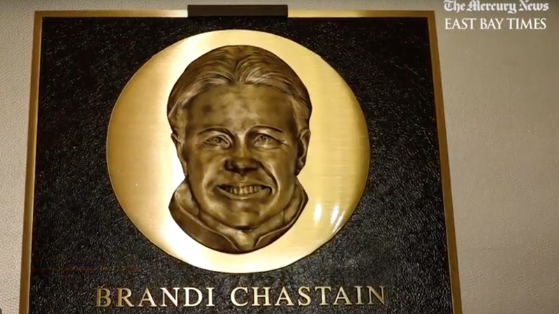 Illustration for article titled Whose Face Is This On Brandi Chastain's Hall Of Fame Plaque?