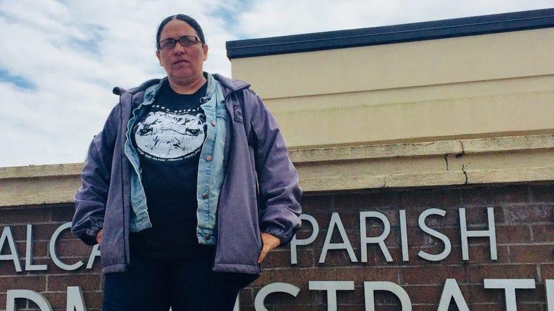 Cherri Foytlin outside the sheriff's office where she was held Thursday.