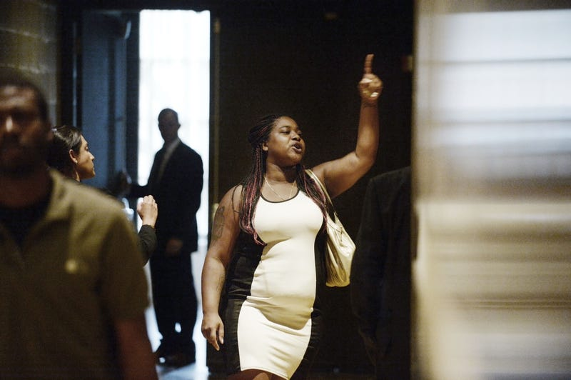 Erica Garner, the daughter of Eric Garner, who was choked to death by a police officer on Staten Island, N.Y., asks to speak with President Barack Obama outside a town hall hosted by ABC to engage directly with officers, parents, students, community leaders and families on issues of trust and safety July 14, 2016, in Washington, D.C. Olivier Douliery-Pool/Getty Images