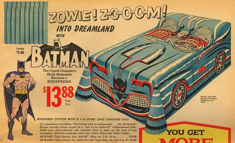 Illustration for article titled This Batmobile bedspread is licensed-product gold