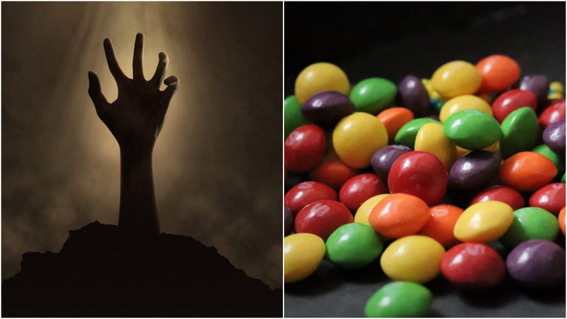 Illustration for article titled Zombie Skittles will let you taste the rainbow—and rotting human flesh