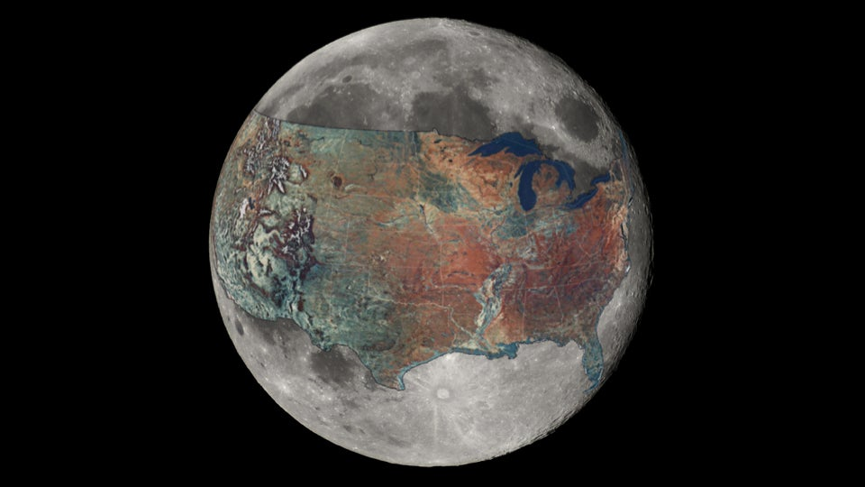 And now for a sense of scale a map of the US overlaid on the Moon