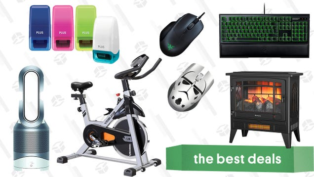 Saturday s Best Deals: Razer Accessories, Dyson Hot + Cool Air Purifier, Indoor Electric Fireplace, Yosuda Stationary Bike, Identity Guard Rolling Stamps, and More