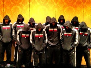 The whole Miami Heat teamdonned hoodies for Trayvon. (Twitter)