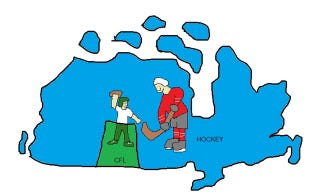 Illustration for article titled Less Awesome Map: The Provinces Of Canada, By Regional Sport