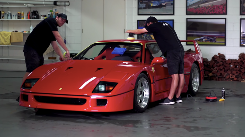 Illustration for article titled Your Happy Place Is Watching This Ferrari F40 Getting a Full Detail