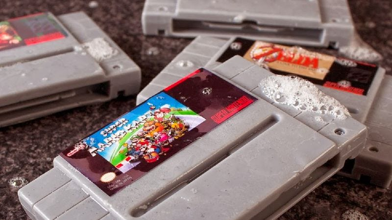 Illustration for article titled Someone has made soap bars shaped like classic Nintendo game cartridges