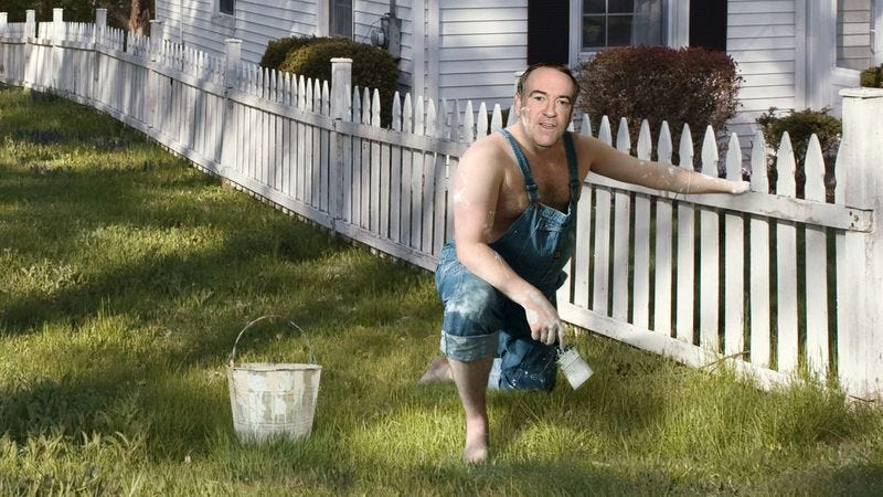 Illustration for article titled Huckabee Earns Nickel For Presidential Campaign By Painting Old Widow's Picket Fence