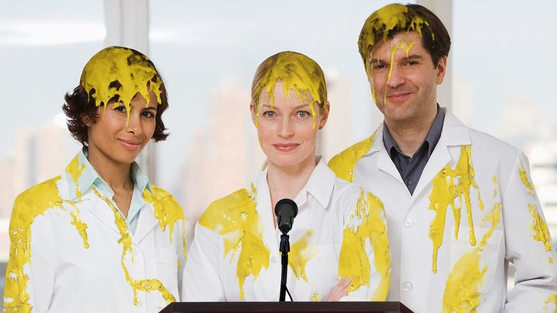 Illustration for article titled Science FTW: Researchers Covered Head To Toe In Mustard Have Announced That Their Colleagues Got Them Good