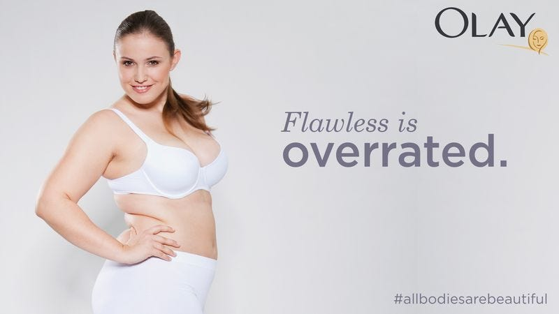 Officials at Olay plan to soften up their consumers with a few TV commercials and print ads like this before absolutely unloading on them with airbrushed models from every direction.
