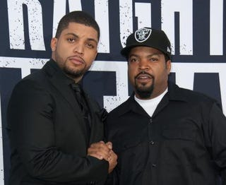 O'Shea Jackson Jr. and his dad, Ice Cube, arrive for the premiere of Straight Outta Compton Aug. 10, 2015, in Los Angeles. VALERIE MACON/AFP/Getty Images