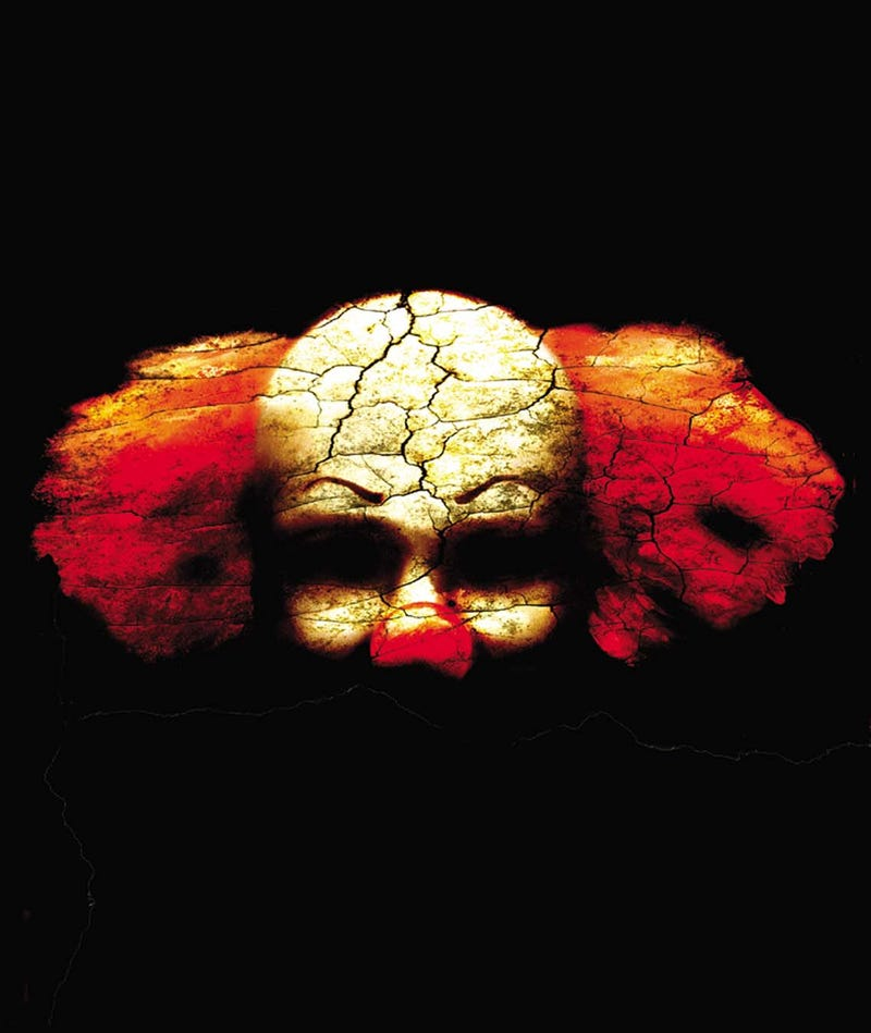 USA - 2003:  2 col x 4.5 in / 96x114 mm / 327x389 pixels Michael Hogue color illustration of a dark, scary clown face. (The Dallas Morning News/MCT via Getty Images via Getty Images)