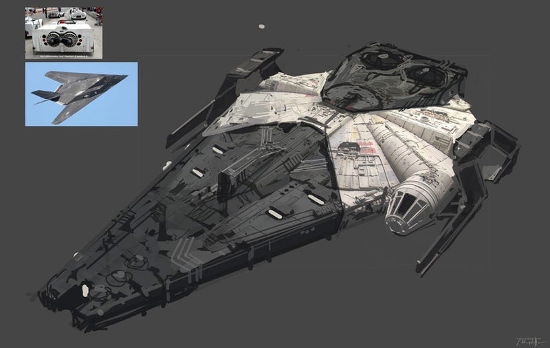 This stealth bomber-inspired design of the Millennium Falcon is one of 60 concepts made for Solo: A Star Wars Story.